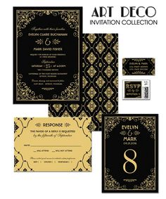 Black and Gold Wedding Invitations - Art Deco Wedding Style - Great Gatsby Wedding Great Gatsby Wedding, 1920s Wedding, Dream Wedding, Gatsby Theme, Art Deco Wedding Invitations, Wedding Stationery, Wedding Paper, Wedding Cards, Wedding Designs