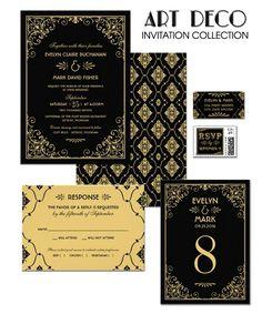 Black and Gold Wedding Invitations - Art Deco Wedding Style - Vintage Wedding