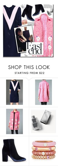 """""""Fall Fashion - Pink Coat"""" by beebeely-look ❤ liked on Polyvore featuring Burberry, Gianvito Rossi, Adolfo Courrier, dress, floralprint, coat, fallfashion and dezzal"""