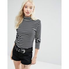 Brave Soul Stripe Roll Neck Jumper ($12) ❤ liked on Polyvore featuring tops, sweaters, black, stripe sweater, long sleeve tops, stripe top, rollneck sweaters and roll neck sweater
