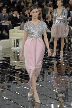 Empire Style! See Kendall Jenner and Bella Hadid walking the Chanel haute couture SS17 show, while Lily-Rose Depp closed it as the Bride.