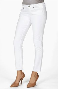 Paige Denim 'Skyline' Skinny Stretch Maternity Ankle Jeans (Optic White) available at #Nordstrom