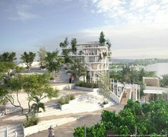 Rendered View from Roof Gardens. Image © SOU FUJIMOTO ARCHITECTS + LAISNÉ ROUSSEL + RENDERING BY TÀMAS FISHER AND MORPH.