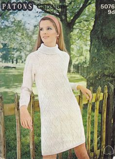 Patons 5076: Great vintage knitting pattern for ARAN shift dress with roll collar from 1960s, could make shorter as jumper or tunic, look great with jeans or jeggings