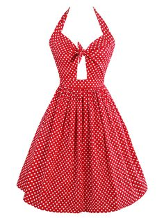 Vintage Polka Dot Cut Out Dress - RED S