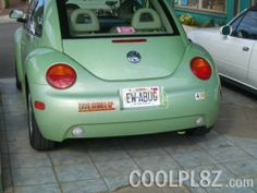 EW-ABUG as seen on the Vanity License Plate Picture Gallery | CoolPl8z.com (on a VW Bug)