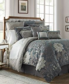Waterford Linens Waterford® Linens Ansonia Queen Comforter Set in Pewter Comforter Sets, Home, Luxury Bedding Sets, Bed, Luxury Bedding Collections, Grey Bedding, Luxury Bedding, Modern Bed, Luxury Comforter Sets