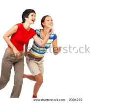 Running young beautiful women. Isolated over white. - stock photo