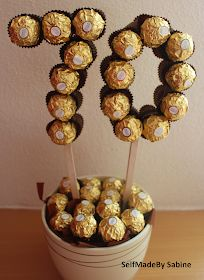 SelfMadeby Sabine: Ferrero Rocher birthday surprise – Birthday Presents 70th Birthday Presents, 70th Birthday Parties, Happy Birthday Cards, 60th Birthday, Surprise Birthday, 50th Birthday Decorations, Ferrero Rocher Gift, Ferrero Rocher Bouquet, Sweet Trees