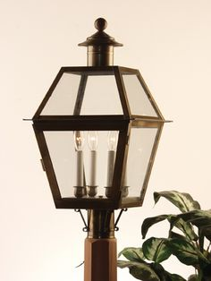 1PC (AB) Large Boston Post Lantern:With 3 lite cluster, Made from Solid Brass with Antique Brass finish. Made at Newstamp Lighting Corp in USA. See website for dimensions, pricing, and others sizes. 2PC-Medium, 6PC- Small