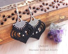 Macrame Black BOHO Earrings 'KARUNYA'. Bohemian Tribal Jewelry. Boho Hippie Chic. Alternative Fashion. Bellydance Earrings.