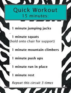 Quick Workout, 15 Minutes!!!!!!!! i hate mountain climbers... but this is easy enough to do at home- even w the girls awake!