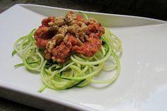 Zucchini Pasta with Chunky Tomato Sauce /by Brendan Brazier #vegan #recipe        Recipe by Brendan Brazier