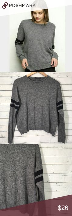 Brandy Melville sweater Heather grey Brandy Melville sweater with black stripes Gently used- still in excellent condition One size fits all Lovely sweater for all seasons. Brandy Melville Sweaters