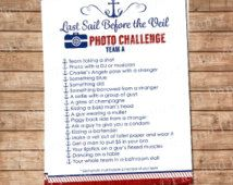 Last Sail Before the Veil, Bachelorette Party Photo Scavenger Hunt Game Nautical Theme in Red and Navy,