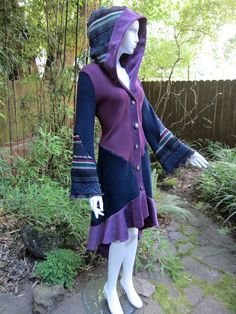 Recycled Sweater Coat 65 ... Amethyst, Navy, Black, Berry, Green on Etsy, $578.00