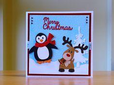 Christmas Card, Handmade - Marianne penguin & reindeer dies.  For more of my cards please visit CraftyCardStudio on Etsy.com.
