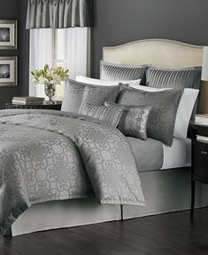 CLOSEOUT! Martha Stewart Collection Savannah Graphite 22-Piece Comforter Sets, Only at Macy's - Bed in a Bag - Bed & Bath - Macy's