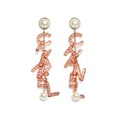 Chanel - FW2018/19 | Metal, glass pearls, strass & resin gold, pearly white, orange & pink earrings ($1,275)