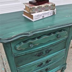 Teal Green French Provincial Desk/ Turquoise/ by AquaXpressions