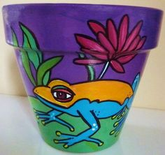Frog and Lily Pad  8 Original Hand Painted Flower by leahreynolds, $35.00