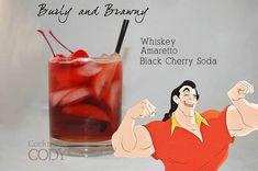 "Cocktail ""Gaston""  Whisky, Amaretto, Soda cerise noire"