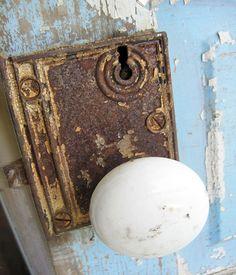antique door knobs | Vintage Porcelain Knob on Blue Door - Fresh Vintage Blog