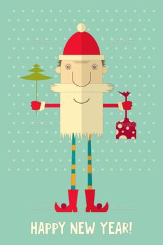 Happy New Year Greeting Card by elfivetrov Happy New Year Greeting Cardwith Santa Claus in Flat Style. Vector Illustration. EPS10. File has transparency. Use fonts: Firenigh