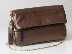 Leather clutch - OPELLE Fold-Over Clutch Bag - Golden Bronze Lambskin w Gilt Chain. $158.00, via Etsy.