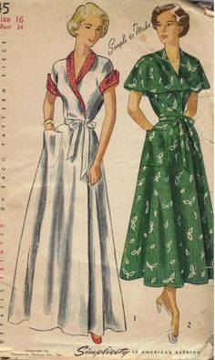 1949 Women's Wrap Around Brunch Coat, House Dress Vintage Sewing Pattern Simplicity 2845