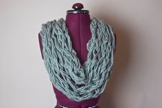Large Knit Chunky Wool Blend Infinity Scarf by CityGirlCreations98, $14.00