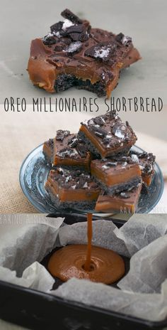 Oreo Millionaires Shortbread. Oreo biscuit base topped with salted caramel, chocolate and crushed Oreos. | Baking a Mess
