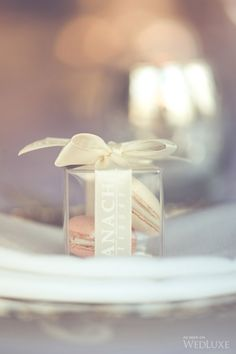 Boxed macaron favors. Ganache Patisserie. | PHOTOGRAPHY BY: BLUSH WEDDING PHOTOGRAPHY