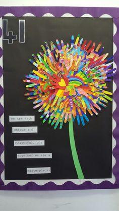 My version of one I saw on pinterest! Classroom Displays, Classroom Decor, Preschool Classroom, Kindergarten, Spring Bulletin Boards, Handprint Art, Footprint, Art Ideas, Infant
