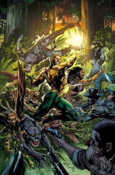 Aquaman and Ya'Wara fight a cartel in the Amazon.