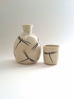 Hand Painted Porcelain Sake or Cordial Serving Set (Bottle and One Cups) with Dragonfly Motif (Dragonflies) on Etsy, $40.00