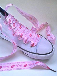 63df38a77609 Satin ribbon shoe laces wedding shoelaces for Hi top - Low top Converse