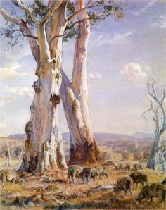 Hans Heysen - The Two White Gums, Ambleside 1944 Watercolor Trees, Watercolor Landscape, Landscape Art, Landscape Paintings, Watercolor Paintings, Watercolours, Landscapes, Australian Painting, Australian Artists