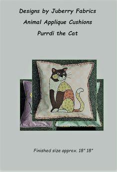 Purrdi the Cat by Juberry Fabrics Applique Cushions, Fabric Animals, Sewing Patterns, Fabrics, Templates, Cats, Design, Tejidos, Stencils