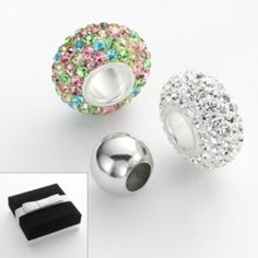 Individuality Beads Sterling Silver Multicolored Crystal Round Er Bead Set