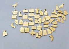 State Charm Necklace Small Gold State Charm by PinkingEdgeDesigns