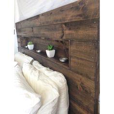 Pallet bed head with niche. #recycle #recycled #recycledtimber #recycledfurniture #pallet #pallets #palletbed #bedhead by recyclemecreations #furniture