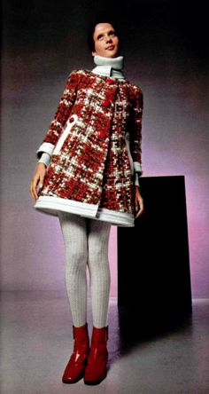"""1969 Pierre Cardin L'officiel magazine 1969 half boots and coat dress  Half boots severed a great service to the new fashion of stretch pants with stirrup feet. With flats the stirrup was seen which wasn't a big deal until half boots came out. Suddenly a visible stirrup was poor taste. Half boots hid the stirrup yet were shortand slender enough to still make shapely legs noticeable."""""""