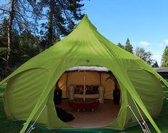 yurta verde, de Lotus Belle Outback Deluxe tienda, 16 pies, burning man, carpa festival glamping