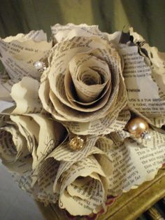 Homemade from Vintage Paper Wedding Bouquets by AmberjoysVintage, $40.00