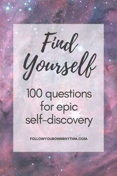 Find Yourself - A 100 question journal with guidance in between for personal growth and self discovery. --self-reflection Be True To Yourself, Finding Yourself, Self Development, Personal Development, Self Improvement Tips, Journal Prompts, Journal Ideas, Writing Prompts, Spiritual Growth