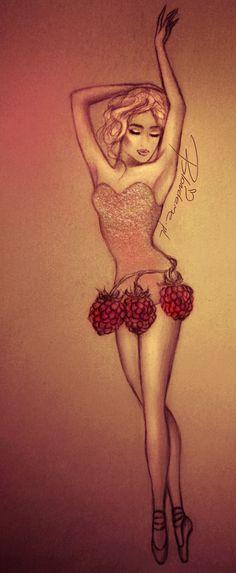 baletnica-blondynka-rysunek-modowy-maliny