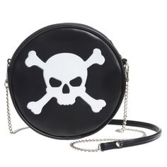 Product Details Brand: Alchemy Gothic Materials: PU Leather Zipper Closure Bag Size H x W x D in Detachable chain strap Ships to USA only US shipping up to 1 to 2 weeksRest of the world refer to shipping page Gothic Metal, Dark Gothic, Alchemy, Skull Purse, Black Shoulder Bag, Shoulder Strap, Shoulder Bags, Round Bag, Black Skulls
