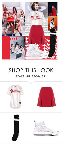 """Red Velvet- Dumb Dumb"" by ninaxo17 ❤ liked on Polyvore featuring Topshop, Boohoo and Converse"