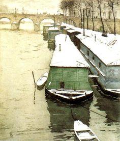 Tavik František Šimon    PONT MARIE, PARIS. Colour E – 435x370. 200 prints. G. Petit, Paris.